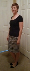 Melisa Mixed Geo Pencil Skirt
